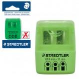 Точилка STAEDTLER (Германия), 2 отверстия, с контейнером, пластиковая, зеленая, 51260F50BK