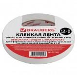 Клейкая лента двухсторонняя 12 мм х 5 м, ТОЛСТАЯ ОСНОВА (вспененный ПЭ), 1 мм, подвес, BRAUBERG, 227269