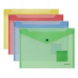 Папка-конверт с кнопкой формат B5 (282х229 мм), прозрачная, ассорти, 0,18 мм, ERICH KRAUSE 'Classic', 47052