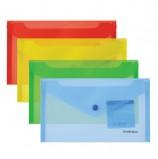 Папка-конверт с кнопкой МАЛОГО ФОРМАТА (203х129 мм), C6, прозрачная, ассорти, 0,18 мм, ERICH KRAUSE 'Classic', 47054