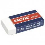 Резинка стирательная FACTIS Softer S 24 (Испания), 50х24х10 мм, картонный держатель, синтетический каучук, CNFS24
