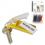 Брелоки для ключей КОМПЛЕКТ 6 шт., длина 68 мм, инфо-окно 40х18 мм, АССОРТИ, DURABLE (Германия), 1957-00
