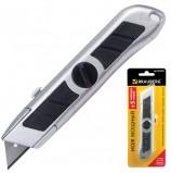 Нож универсальный мощный BRAUBERG 'Professional', металлический корпус, фиксатор, + 5 лезвий, 235403