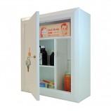 Шкафчик-аптечка металлический, навесной, внутренние перегородки, ключевой замок, 400x360x140 мм