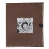 Фотоальбом BRAUBERG на 36 фотографий 10х15 см, под фактурную кожу, застежка, коричневый, 390658