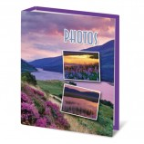 Фотоальбом BRAUBERG на 100 фотографий 10х15 см, твердая обложка, 'Горный вид', сиреневый, 390662