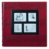 Фотоальбом BRAUBERG на 500 фотографий 10х15 см, обложка под кожу крокодила, рамка для фото, красный, 390714