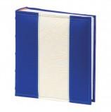 Фотоальбом BRAUBERG на 200 фото 10х15 см, под кожу, бумажные страницы, бокс, синий с белым, 391113