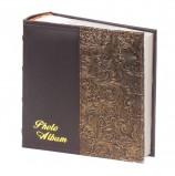 Фотоальбом BRAUBERG на 300 фото 10х15 см, под кожу, бумажные страницы, бокс, черный+золото, 391118