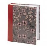 Фотоальбом BRAUBERG на 200 фото 10х15 см, твердая обложка, 'Флора', серый с красным, 391121