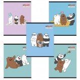 Тетрадь А5, 48 л., HATBER, скоба, клетка, обложка картон, 'Вся правда о медведях' (5 видов в спайке), 48Т5В1