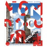 Тетрадь А5, 48 л., HATBER, скоба, линия, обложка картон, 'Hello, England!' (1 вид), 48Т5В2_20093