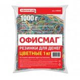 Резинки банковские универсальные, ОФИСМАГ 1000 г, диаметр 60 мм, цветные, натуральный каучук, 440090