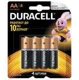 Батарейки DURACELL Basic, AA (LR06, 15А), алкалиновые, КОМПЛЕКТ 4 шт., в блистере, MN 1500 АА LR6