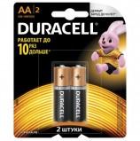 Батарейки DURACELL Basic, AA (LR06, 15А), алкалиновые, КОМПЛЕКТ 2 шт., в блистере