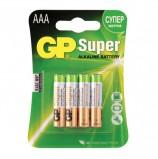 Батарейки GP Super, AAA (LR03, 24 А), алкалиновые, комплект 4 шт., в блистере