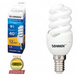 Лампа люминесцентная энергосберегающая SONNEN Т2, 9 (40) Вт, цоколь E14, 12000 ч., холодный свет, премиум, 451048