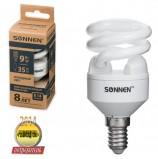 Лампа люминесцентная энергосберегающая SONNEN Т2, 9 (35) Вт, цоколь E14, 8000 часов, холодный свет, эконом, 451064