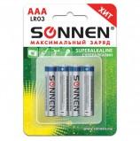 Батарейки SONNEN Super Alkaline, AAA (LR03, 24А), алкалиновые, КОМПЛЕКТ 4 шт., в блистере, 451096