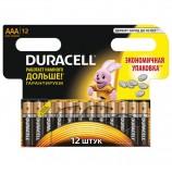 Батарейки DURACELL Basic, AAA (LR03, 24А), алкалиновые, КОМПЛЕКТ 12 шт., в блистере