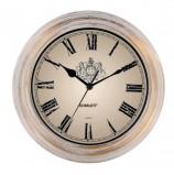 Часы настенные SCARLETT SC-27B круглые, белые, белая с золотом рамка, плавный ход, 28x28x4 см, SC - 27B
