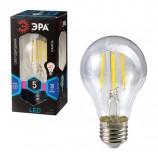 Лампа светодиодная ЭРА, 5 (40) Вт, цоколь E27, грушевидная, холодный белый свет, 30000 ч., F-LED А60-5w-840-E27