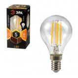 Лампа светодиодная ЭРА, 5 (40) Вт, цоколь E14, шар, теплый белый свет, 30000 ч., F-LED Р45-5w-827-E14