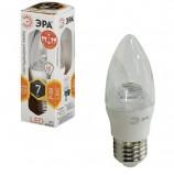 Лампа светодиодная ЭРА, 7 (60) Вт, цоколь E27, 'прозрачная свеча', теплый белый свет, 30000 ч., LED smdB35-7w-827-E27-Clear, B35-7w-827-E27c