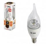 Лампа светодиодная ЭРА, 7 (60) Вт, цоколь E14, 'прозрачная свеча на ветру', теплый белый свет, LED smdBXS-7w-827-E14-Clear, BXS-7w-827-E14c