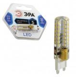 Лампа светодиодная ЭРА, 5 (50) Вт, цоколь G9, JCD, холодный белый свет, 30000 ч., LED smdJCD-5w-corn-840-G9, JCD-5w-840-G9c