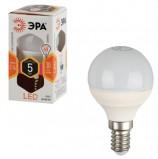 Лампа светодиодная ЭРА, 5 (40) Вт, цоколь E14, шар, теплый белый свет, 30000 ч., LED smdP45-5w-827-E14
