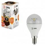 Лампа светодиодная ЭРА, 7 (60) Вт, цоколь E14, прозрачный шар, теплый белый свет, 30000 ч., LED smdP45-7w-827-E14-Clear, P45-7w-827-E14c