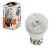 Лампа светодиодная ЭРА, 7 (60) Вт, цоколь E27, прозрачный шар, теплый белый свет, 30000 ч., LED smdP45-7w-827-E27-Clear, P45-7w-827-E27c