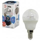 Лампа светодиодная ЭРА, 7 (60) Вт, цоколь E14, прозрачный шар, холодный белый свет, 30000 ч., LED smdP45-7w-840-E14-Clear, P45-7w-840-E14c