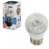 Лампа светодиодная ЭРА, 7 (60) Вт, цоколь E27, прозрачный шар, холодный белый свет, 30000 ч., LED smdP45-7w-840-E27-Clear, P45-7w-840-E27c