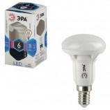 Лампа светодиодная ЭРА, 6 (50) Вт, цоколь E14, рефлектор, холодный белый свет, 30000 ч., LED smdR50-6w-840-E14