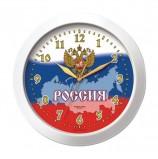 Часы настенные TROYKA 11110191, круг, белые с рисунком 'Россия', белая рамка, 29х29х3,5 см