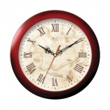 Часы настенные TROYKA 11131150, круг, бежевые с рисунком 'Карта', коричневая рамка, 29х29х3,5 см