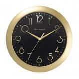 Часы настенные TROYKA 11171180, круг, черные, золотая рамка, 29х29х3,5 см