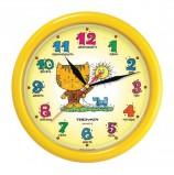 Часы настенные TROYKA 21250290, круг, желтые с рисунком 'Котенок', желтая рамка, 24,5х24,5х3,1 см