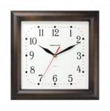 Часы настенные TROYKA 81863835, квадрат, белые, коричневая рамка, 29х29х3,5 см