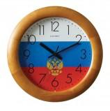 Часы настенные САЛЮТ ДС-ББ27-185, круг, с рисунком 'Флаг России', деревянная рамка, 31х31х4,5 см
