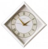 Часы настенные САЛЮТ П-2Е7-422, ромб, белые с рисунком 'Классика', белая рамка, 28х28х4 см