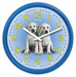 Часы настенные САЛЮТ ПЕ-Б4.1-232, круг, голубые с рисунком 'Собаки', голубая рамка, 24,5х24,5х3,5 см