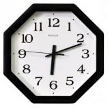 Часы настенные САЛЮТ П-В6-021, восьмигранник, белые, черная рамка, 28х28х4 см