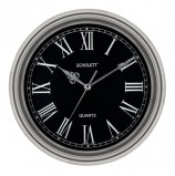 Часы настенные SCARLETT SC-27D, круг, черные, серебристая рамка, 33x33x5,2 см, SC - 27D
