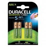 Батарейки аккумуляторные DURACELL, AAA (HR03), Ni-Mh, 850 mAh, КОМПЛЕКТ 4 шт., в блистере, 81546826