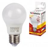 Лампа светодиодная SONNEN, 7 (60) Вт, цоколь E27, грушевидная, теплый белый свет, LED A55-7W-2700-E27, 453693