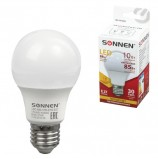 Лампа светодиодная SONNEN, 10 (85) Вт, цоколь Е27, грушевидная, теплый белый свет, LED A60-10W-2700-E27, 453695