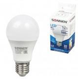 Лампа светодиодная SONNEN, 12 (100) Вт, цоколь Е27, грушевидная, холодный белый свет, LED A60-12W-4000-E27, 453698